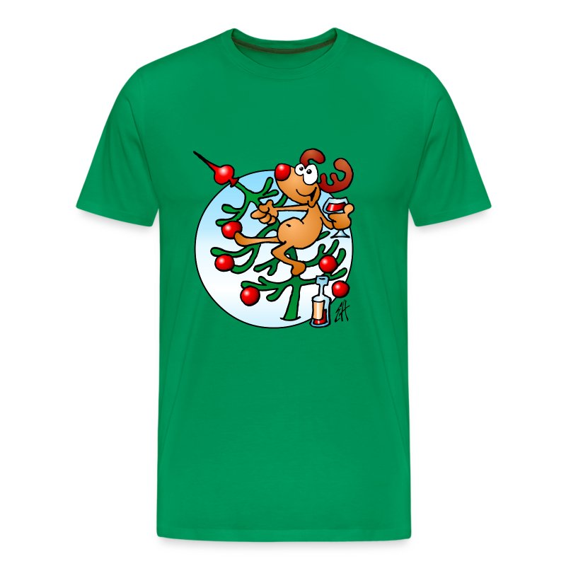 Een rendier in een Kerstboom - Merry Christmas - Mannen Premium T-shirt