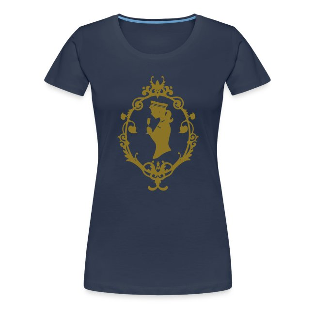 "Girlie-Shirt ""Schleife"" Navy-Gold"