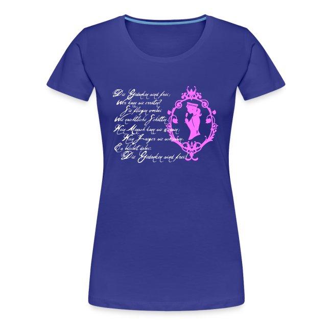 """Girlie-Shirt """"Die Gedanken sind frei"""" Royalblau-Weiß/Rosa"""