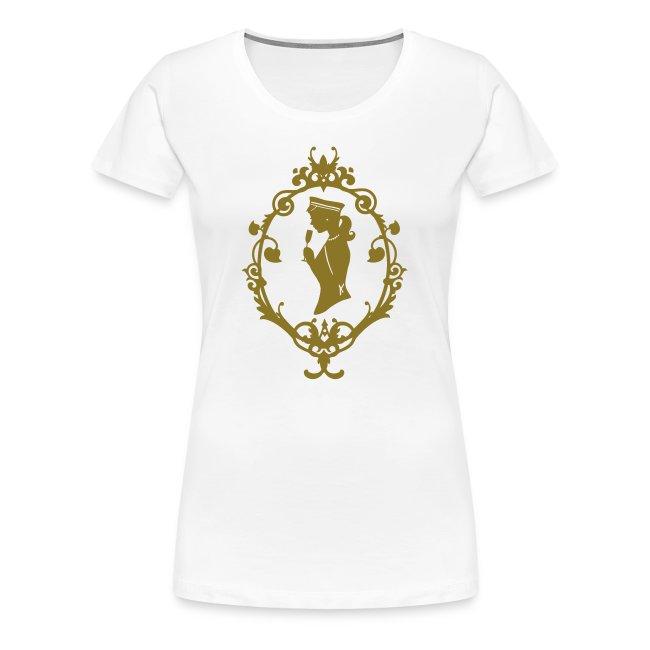 """Girlie-Shirt """"Band"""" Weiß-Gold"""