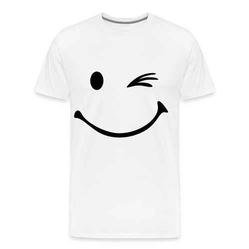 Mannen T-shirt met smiley opdruk met knipoog - Mannen Premium T-shirt