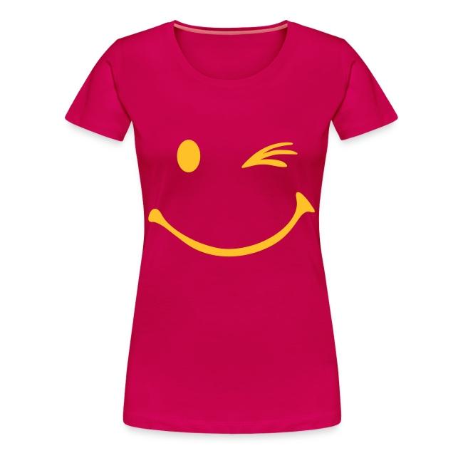 Vrouwen T-shirt met smiley opdruk met knipoog