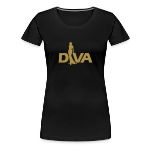 Diva Figure - Gold Glitter - Black - Women's Premium T-Shirt
