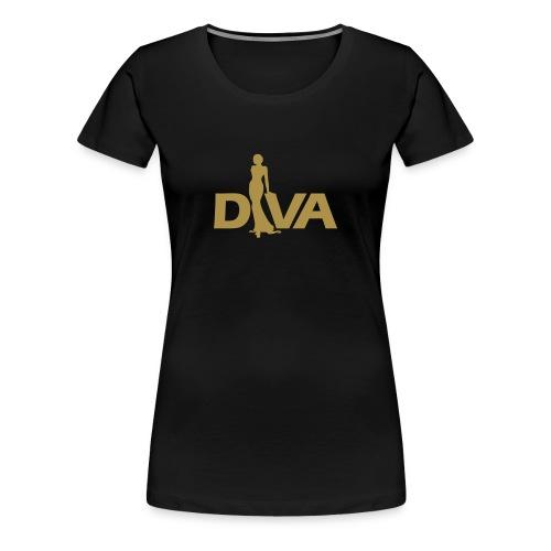 Diva Figure - Gold Glitter - Black - Women's Premium T-Shirt