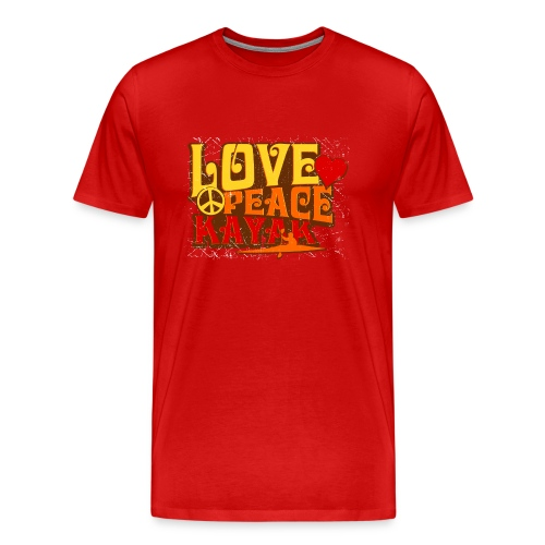 love peace kayak tshirt red - Men's Premium T-Shirt