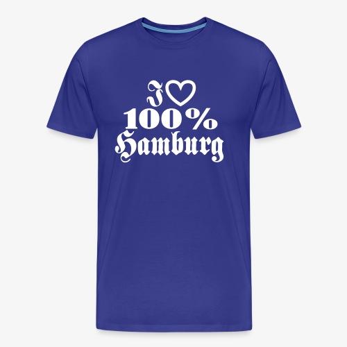 I LOVE 100% Hamburg - Herz Heart 1c Männer T-Shirt blau + alle Farben - Männer Premium T-Shirt