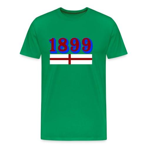 Camiseta premium hombre - Año de fundacion del F.C. Barcelona sobre la bandera inglesa, país que tantas alegrias ha dado al club.