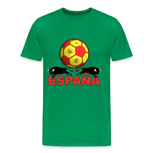 Camiseta premium hombre - Buen trato de balón y furia española.