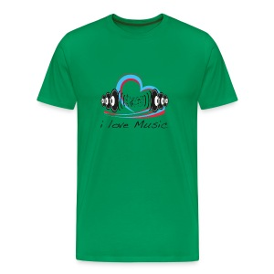 Men's Classic T-Shirt i Love Music Moss Green - Men's Premium T-Shirt