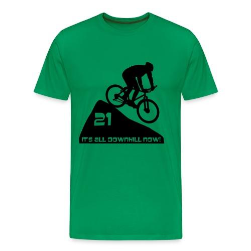 It's all downhill now - birthday 21 - Men's Premium T-Shirt