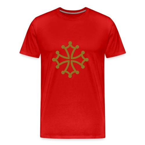 Croix du Languedoc Or et rouge - T-shirt Premium Homme