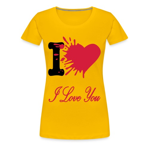 'I LOVE YOU' Women T-Shirt YELLOW - Vrouwen Premium T-shirt