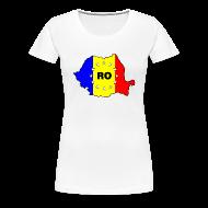 T-Shirts ~ Frauen Premium T-Shirt ~ Damen- Shirt mit Rumänien- Karte RO-EU