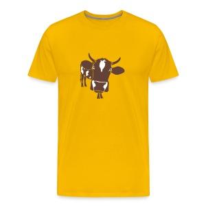 kuh rind muh milch bauer farm alm heidi fleckvieh  lila cow T-Shirts - Männer Premium T-Shirt