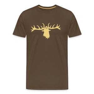 tiershirt t-shirt hirsch röhrender brunft geweih elch stag antler jäger junggesellenabschied - Männer Premium T-Shirt