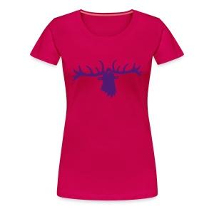 tiershirt t-shirt hirsch röhrender brunft geweih elch stag antler jäger junggesellenabschied - Frauen Premium T-Shirt