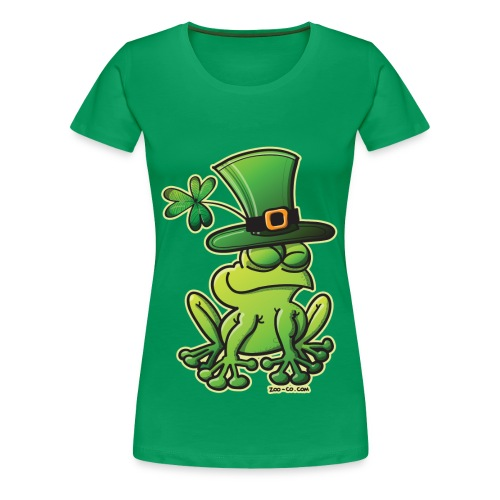 St. Patrick's Day Frog Girlie Shirt in Green - Women's Premium T-Shirt