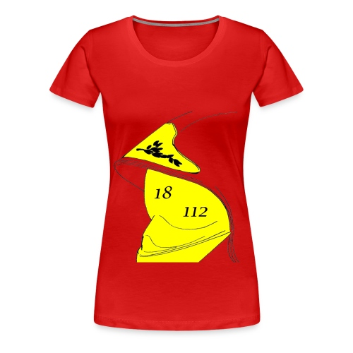 T-shirt Premium Femme - 112,18,France,Sapeurs,alarme,botte,casque,extincteur,feu,grade,incendie,lance,pompiers,professionnel,sauvetage,secourisme,sécurité,veste,volontaire
