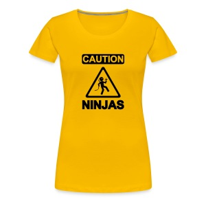 Caution Ninjas - Frauen Premium T-Shirt