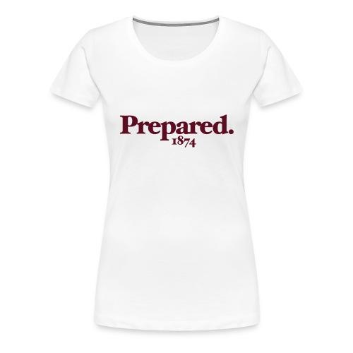 PREPARED 1874 - WHITE/CLARET - Women's Premium T-Shirt