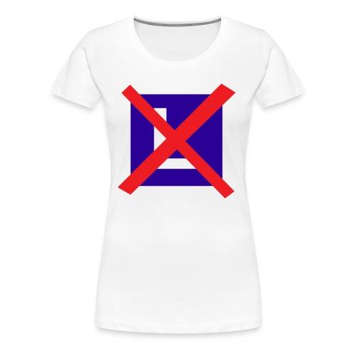 Vrouwen Premium T-shirt - Shirt met een rood kruis door een les bordje.