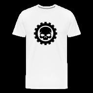 T-shirts ~ Herre premium T-shirt ~ Hvid Herre T-shirt med sort Skull logo