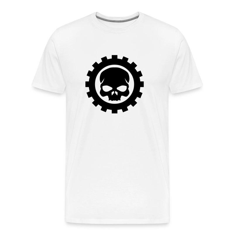 Hvid Herre T-shirt med sort Skull logo - Herre premium T-shirt
