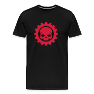 T-shirts ~ Herre premium T-shirt ~ Sort Herre T-shirt med rødt Skull logo