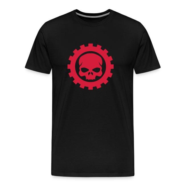 Sort Herre T-shirt med rødt Skull logo