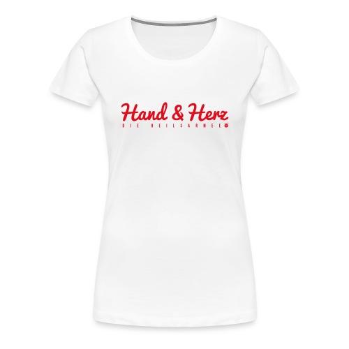 Hand & Herz (rot) - Frauen Premium T-Shirt