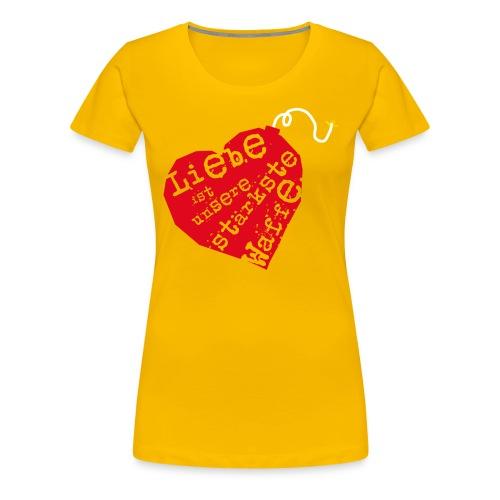 Liebe ist unsere stärkste Waffe: Herz - mit Rückendruck (rot) - Frauen Premium T-Shirt