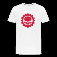 T-shirts ~ Herre premium T-shirt ~ Hvid Herre T-shirt med rødt Skull logo