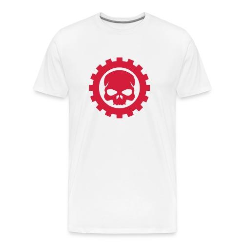 Hvid Herre T-shirt med rødt Skull logo - Herre premium T-shirt