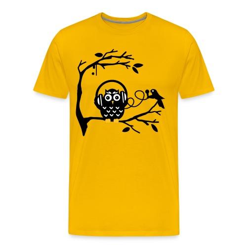 Music owl tee yellow - Men's Premium T-Shirt