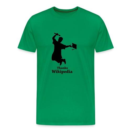 Mannen Premium T-shirt - Shirt met een geslaagd mannetje en de tekst 'Thanks Wikipedia'.