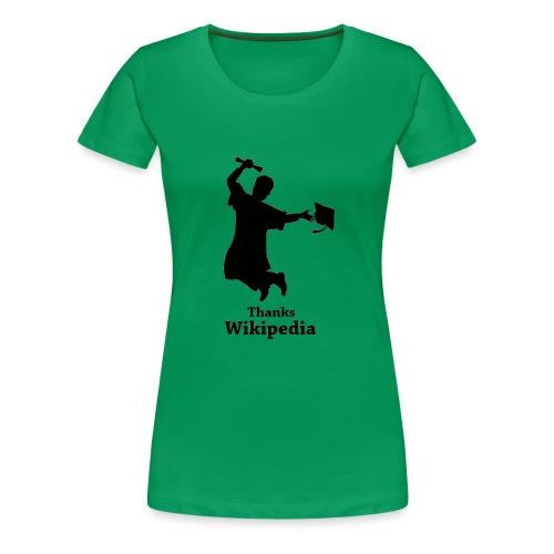 Vrouwen Premium T-shirt - Shirt met een geslaagd mannetje en de tekst 'Thanks Wikipedia'.