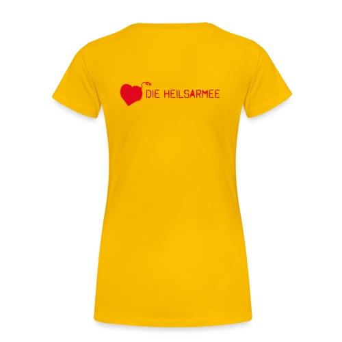 Liebe ist unsere stärkste Waffe: Spray - mit Rückendruck (rot) - Frauen Premium T-Shirt