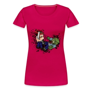 Hero vs Zombie /no blood - Women's Premium T-Shirt