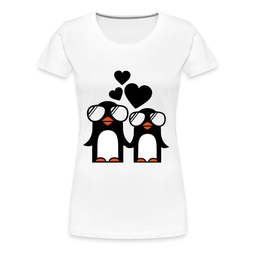 Penguin Love - Dame premium T-shirt