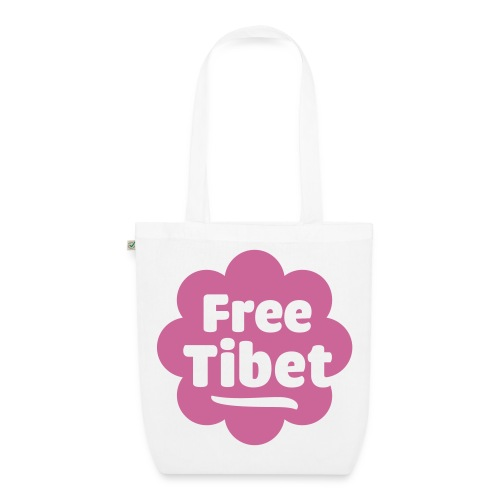 Øko, free tibet, glimmer-tryk - Øko-stoftaske