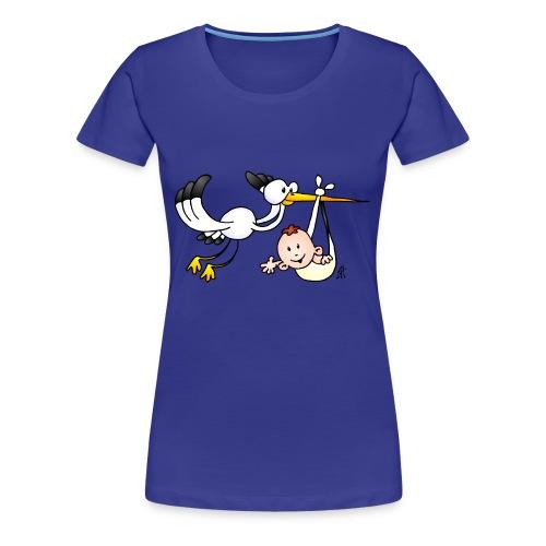 Stork with baby - Women's Premium T-Shirt