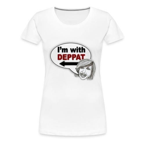 Frauen Premium T-Shirt - Lasst alle wissen, was ihr von der Person zu eurer Rechten denkt. Basierend auf einer Idee von Susi Bresl Buchinger, mit einer Zeichnung von Julia Schwalm.
