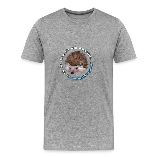 Graues Shirt mit blauer Schrift (klassisch) - Männer Premium T-Shirt
