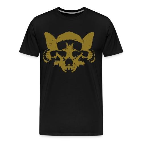 Butterfly Skulls - Tee - Gold Print (Continental Tee) - Men's Premium T-Shirt