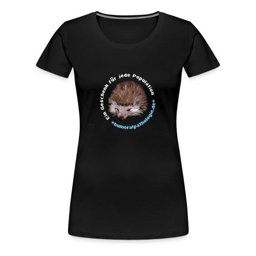 Schwarzes Shirt mit blauer Schrift (girly) - Frauen Premium T-Shirt