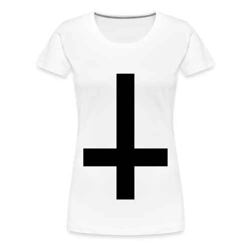 Ladies Upside Down Cross Tee Black/White - Women's Premium T-Shirt