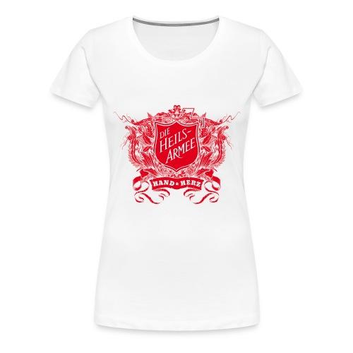 Vintage Shield - mit Rückendruck (rot) - Frauen Premium T-Shirt
