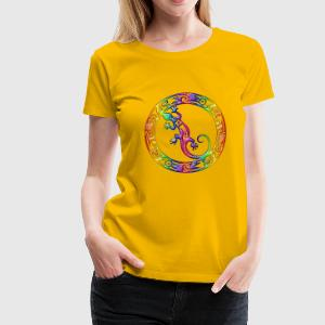 Gecko Ornament Rainbow | Frauen Girlie Shirt  - Frauen Premium T-Shirt