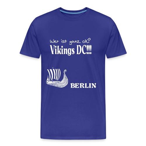Ganz OK - Herren weiss auf blau Flockdruck - Männer Premium T-Shirt