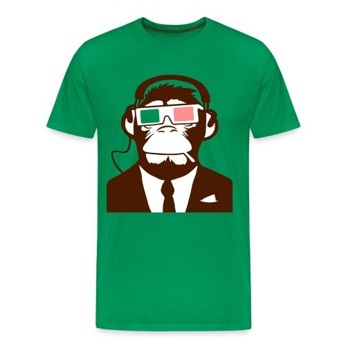 3D Monkey koptelefoon - Mannen Premium T-shirt